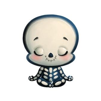 Illustrazione di meditazione scheletro simpatico cartone animato. yoga di halloween
