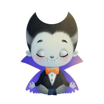 Illustrazione di un vampiro simpatico cartone animato meditando. yoga di halloween