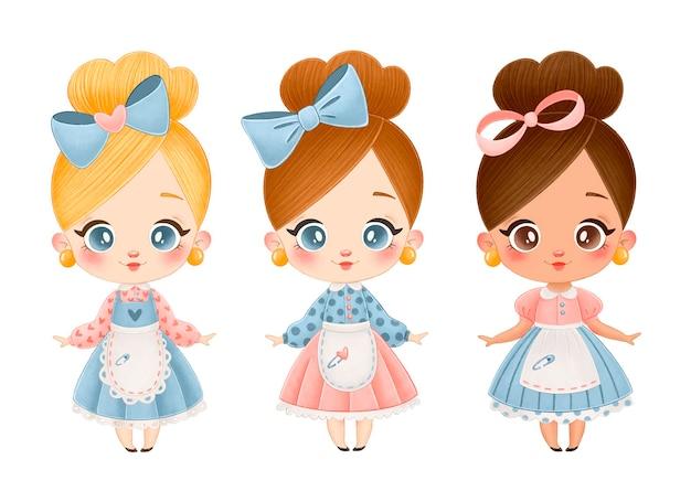 Illustrazione di bambole vintage simpatico cartone animato. ragazze bionde, castane, afroamericane messe isolate.