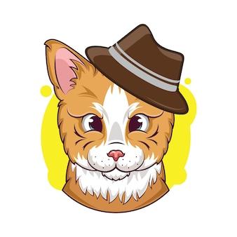 Illustrazione di simpatico gatto con avatar cappello marrone