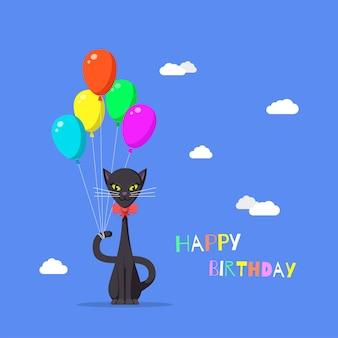 Illustrazione del simpatico gatto con palloncini colorati. buon compleanno biglietto di auguri