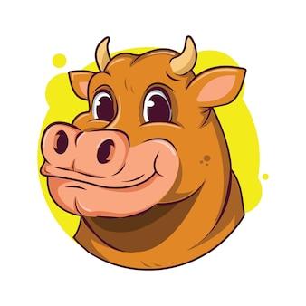 Illustrazione di avatar carino mucca