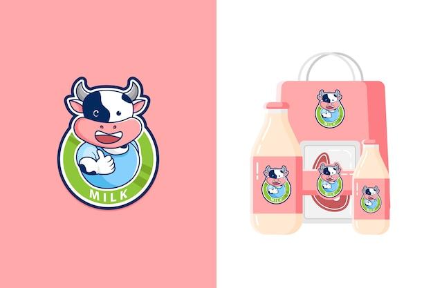 Illustrazione del logo della mascotte della mucca carina per prodotti lattiero-caseari o manzo