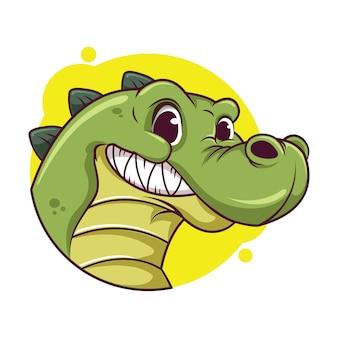 Illustrazione di avatar coccodrillo carino