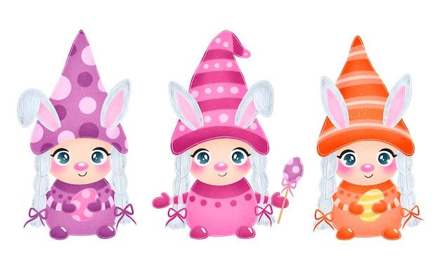 Illustrazione di ragazze carine di gnomi pasquali con orecchie da coniglio