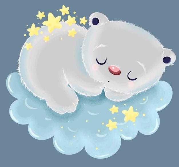 Illustrazione di un simpatico orso grigio con le stelle sulla schiena dorme su una nuvola