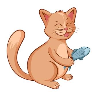 Illustrazione del simpatico gatto felice con un pesce nelle mani. carattere di vettore del fumetto isolato con contorno.