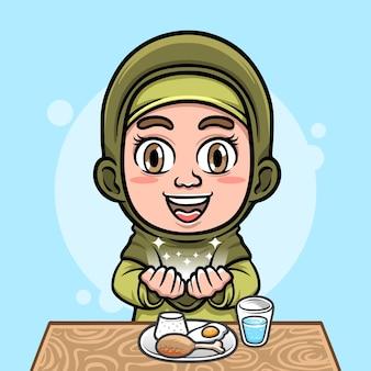 Illustrazione della ragazza musulmana hijab carina che prega prima di mangiare con gli alimenti