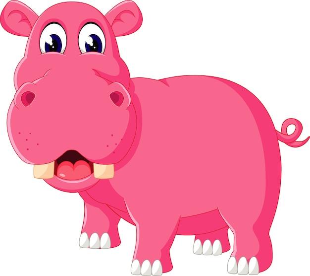 Illustrazione del cartone animato carino ippopotamo