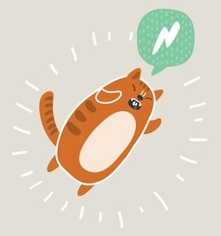 Illustrazione di kawai carino e divertente gatto rosso che salta.