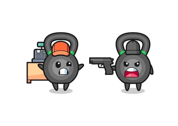 L'illustrazione del simpatico kettleball come cassiere è puntata una pistola da un ladro, design in stile carino per t-shirt, adesivo, elemento logo