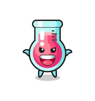 L'illustrazione di un simpatico bicchiere da laboratorio che fa un gesto spaventoso, un design in stile carino per maglietta, adesivo, elemento logo