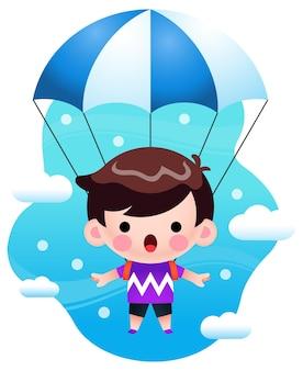 Illustrazione ragazzino sveglio che vola con il paracadute