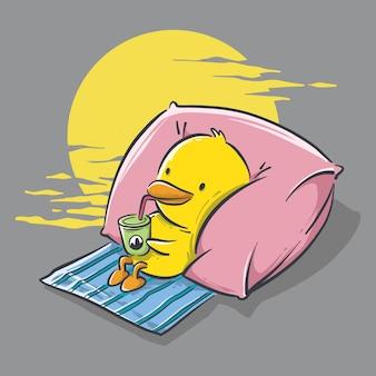 Illustrazione della piccola anatra sveglia che si rilassa e che beve fumetto