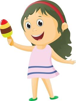 Illustrazione della bambina carina con gelato