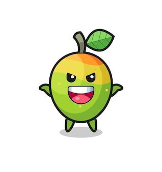 L'illustrazione del mango carino che fa un gesto spaventoso, un design in stile carino per maglietta, adesivo, elemento logo