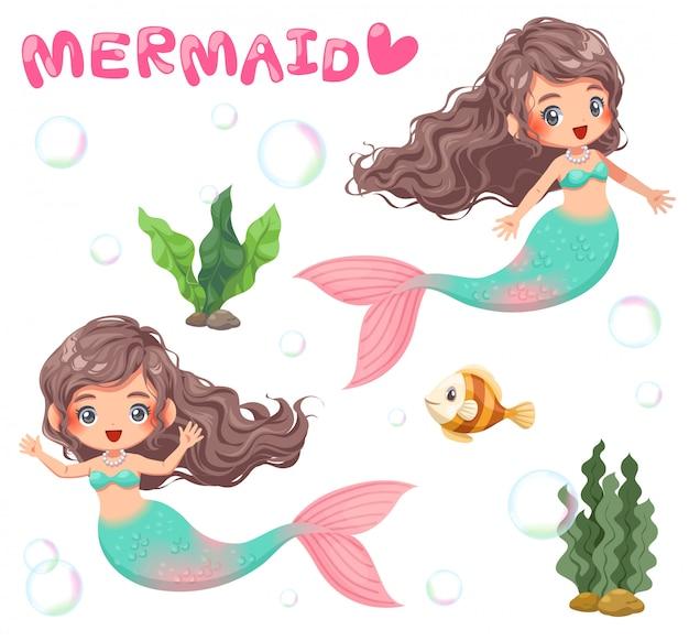 Illustrazione della sirena carina e accessorio