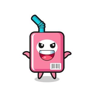 L'illustrazione di una simpatica scatola di latte che fa un gesto spaventoso, un design in stile carino per maglietta, adesivo, elemento logo