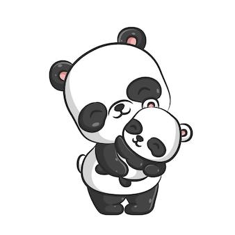 L'illustrazione della simpatica mamma panda culla il suo cucciolo di panda che dorme nel suo abbraccio