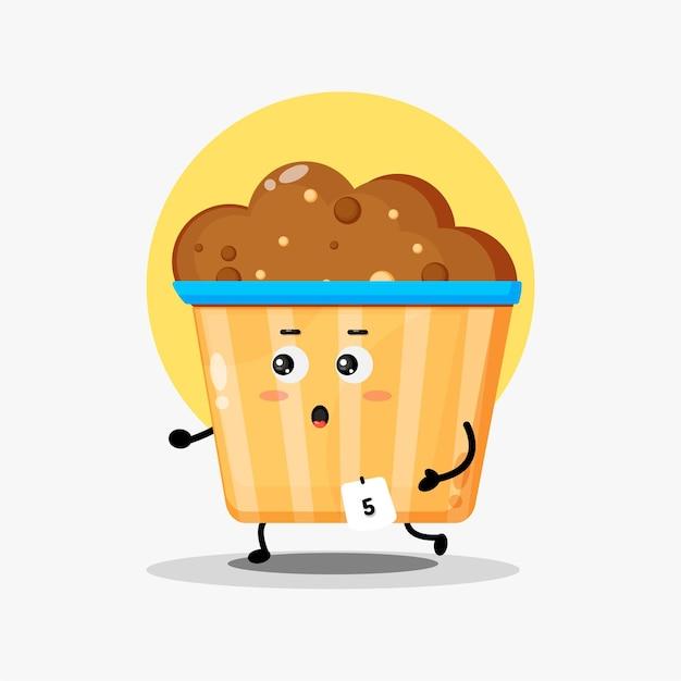 Illustrazione del simpatico personaggio di muffin che fa jogging