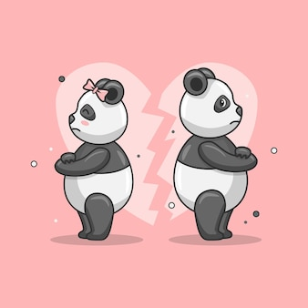 Illustrazione di un simpatico animale panda che combatte con il suo partner