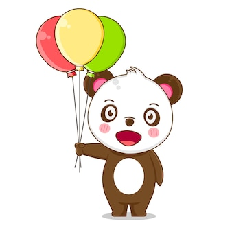 Illustrazione del simpatico panda che tiene palloncino