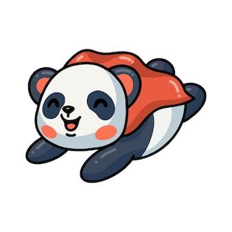 Illustrazione del simpatico panda supereroe cartone animato volante