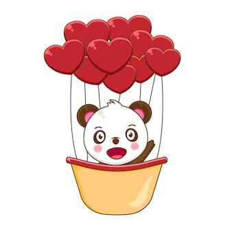 Illustrazione del simpatico panda con mongolfiera
