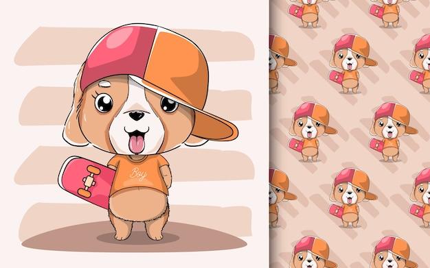 Illustrazione di un simpatico cucciolo con cappello e skateboard.