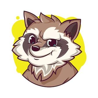 Illustrazione di avatar procione carino