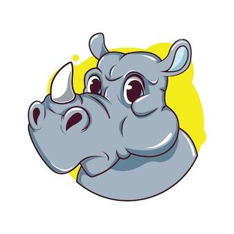 Illustrazione di avatar carino rinoceronte