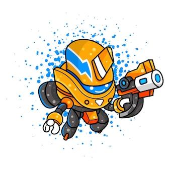 Illustrazione del carino robot per personaggio, adesivo, illustrazione t-shirt