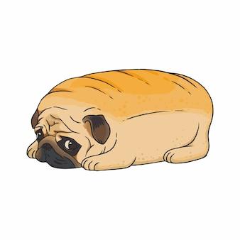 Illustrazione simpatico cane pug triste