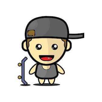 Illustrazione di un simpatico ragazzo in skateboard vettore premium
