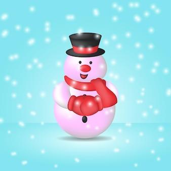 Illustrazione di un simpatico pupazzo di neve con cappello e sciarpa