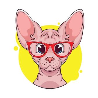 Illustrazione di cute sphynx avatar di gatto con gli occhiali