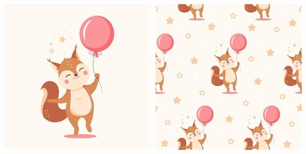 Illustrazione dello scoiattolo sveglio con il reticolo senza giunte. può essere utilizzato per la stampa di t-shirt per bambini, design di stampa di moda, abbigliamento per bambini, biglietti di auguri e inviti per feste di baby shower.