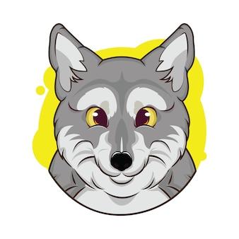 Illustrazione di avatar lupo carino