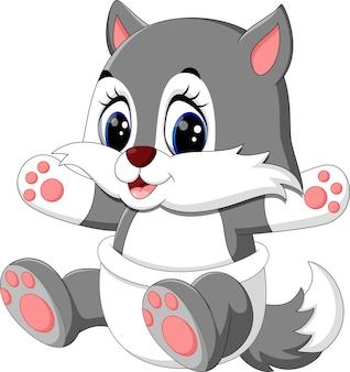 Illustrazione del cartone animato carino lupo Vettore Premium