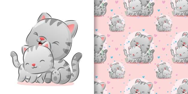 L'illustrazione del gattino cutes che cura il loro corpo con l'espressione felice