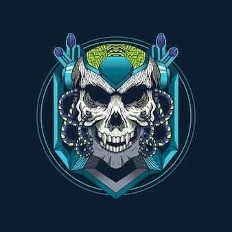 Illustrazione della progettazione dettagliata della testa del cranio dell'armatura del cyborg