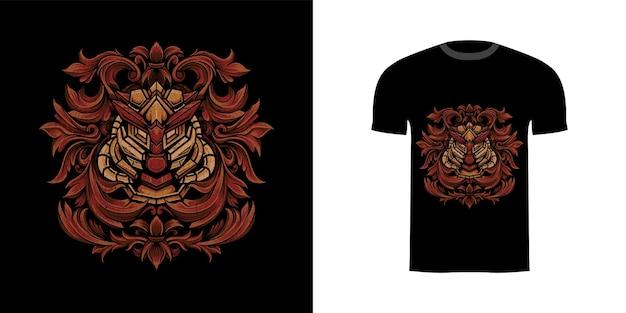 Illustrazione cyborg con ornamento incisione per tshirt desig