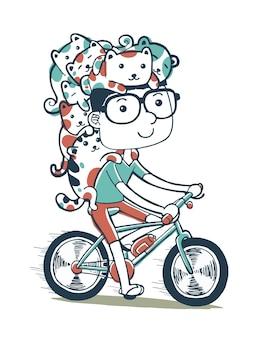 Illustrazione di andare in bicicletta con i gatti in stile cartone animato