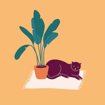 Illustrazione gatto scuro sdraiato sul tappeto vicino a un vaso di fiori.