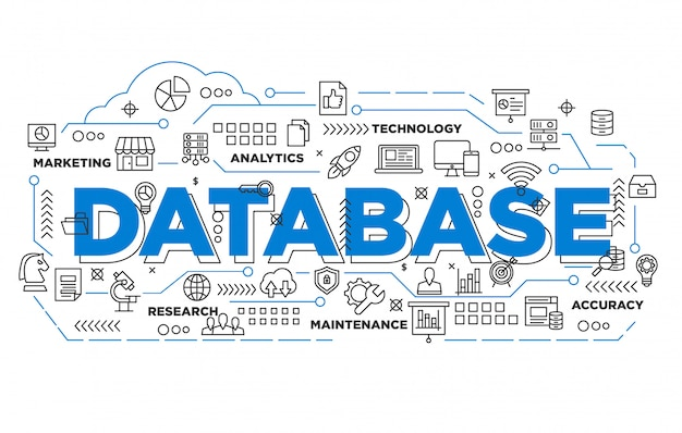 Illustrazione del design banner database con stile iconico
