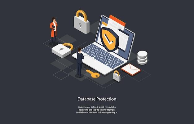 Illustrazione del concetto di protezione del database.