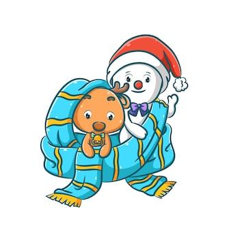 L'illustrazione del caro con la campana e il signor pupazzo di neve si nasconde nello scialle blu per il natale