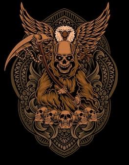 Illustrazione angelo della morte con uccello aquila su ornamento incisione