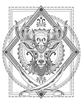 Illustrazione stile mandala testa di cervo con due spade