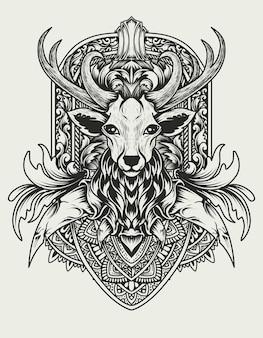 Illustrazione testa di cervo con ornamenti d'epoca